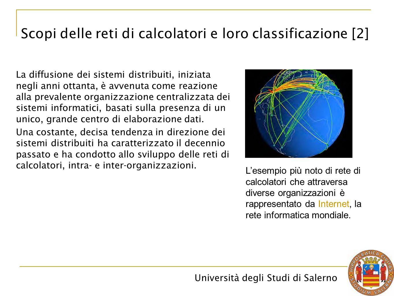 Università degli Studi di Salerno In una rete a topologia irregolare, ciascun pacchetto viaggia in rete da un nodo mittente ad un nodo destinatario attraverso altri nodi.