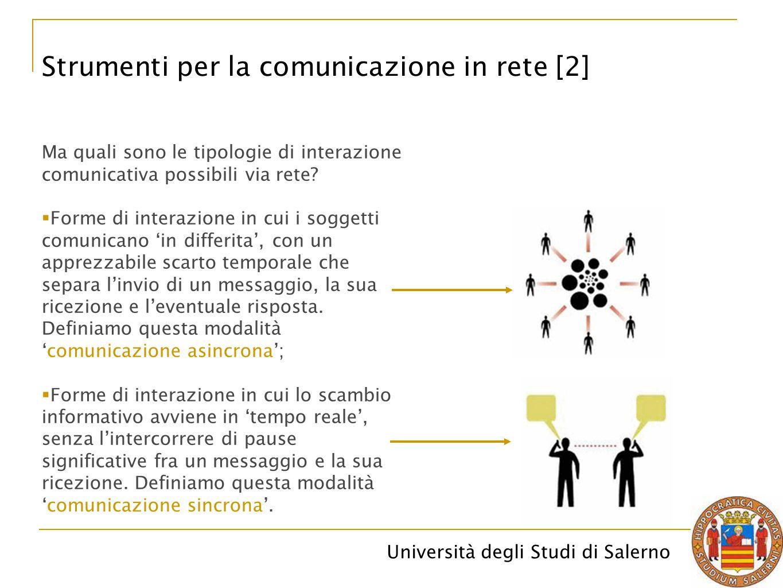 Università degli Studi di Salerno Strumenti per la comunicazione in rete [2] Ma quali sono le tipologie di interazione comunicativa possibili via rete