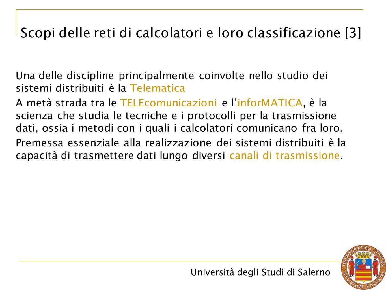 Università degli Studi di Salerno La trasmissione dati consente di collegare fra loro due calcolatori, oppure di collegare un calcolatore ai suoi terminali remoti.