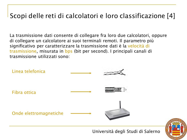 Università degli Studi di Salerno Linea telefonica La normale linea telefonica.A seconda delle tecniche e dei protocolli di comunicazione, si hanno velocità di trasmissione che vanno dai 56 Kbps (linea telefonica classica), a 128 Kbps (linea ISDN) fino a diversi Mbps (linea ADSL).