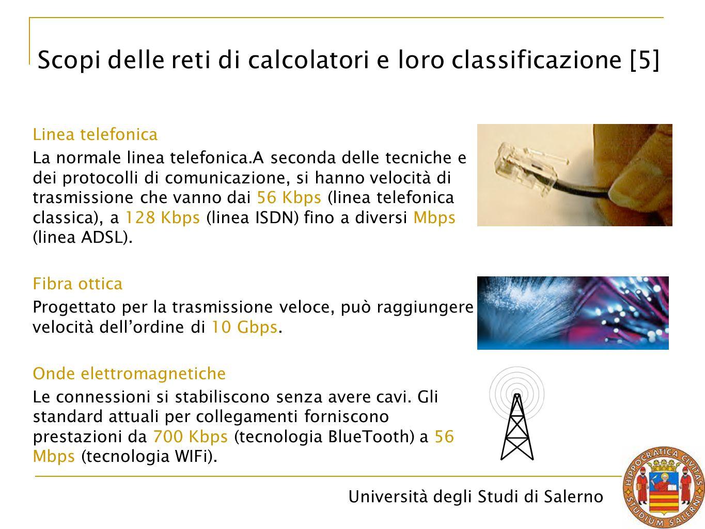 Università degli Studi di Salerno Linea telefonica La normale linea telefonica.A seconda delle tecniche e dei protocolli di comunicazione, si hanno ve