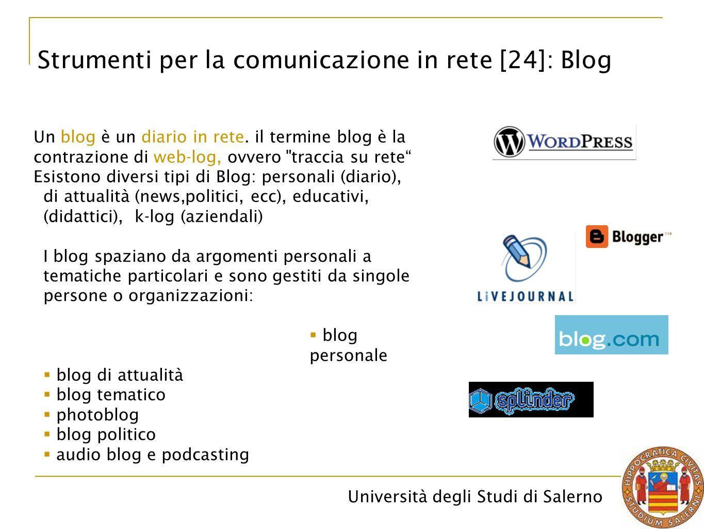 Università degli Studi di Salerno Strumenti per la comunicazione in rete [24]: Blog Un blog è un diario in rete. il termine blog è la contrazione di w