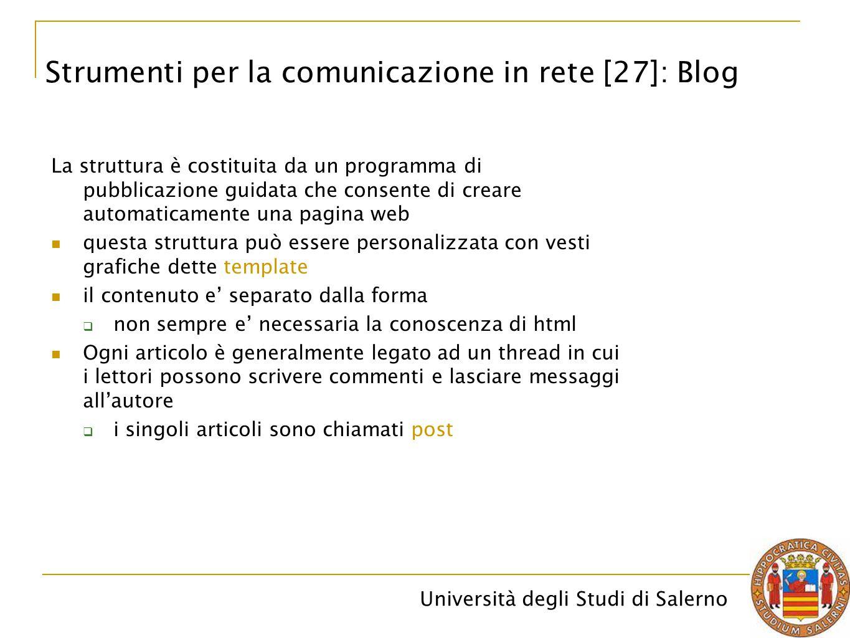 Università degli Studi di Salerno La struttura è costituita da un programma di pubblicazione guidata che consente di creare automaticamente una pagina