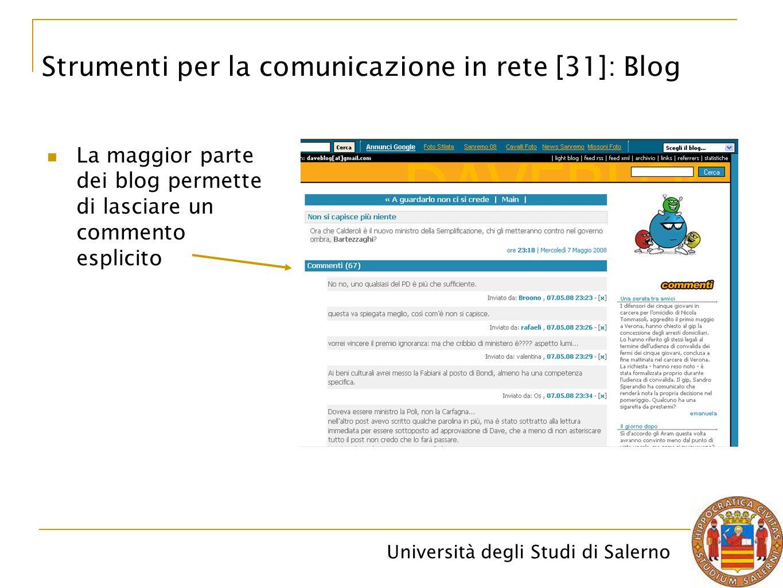 Università degli Studi di Salerno La maggior parte dei blog permette di lasciare un commento esplicito Strumenti per la comunicazione in rete [31]: Bl