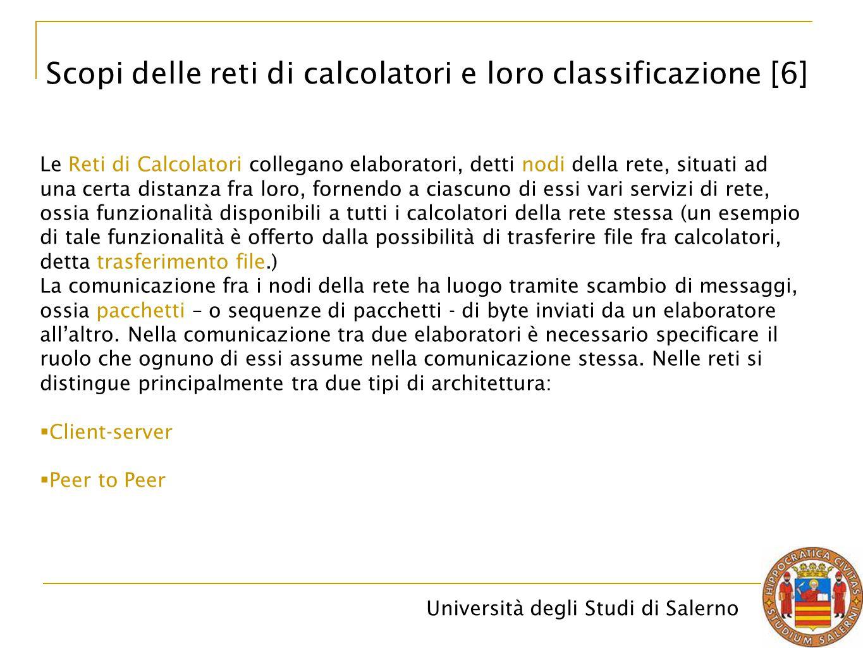 Università degli Studi di Salerno Le Reti di Calcolatori collegano elaboratori, detti nodi della rete, situati ad una certa distanza fra loro, fornend