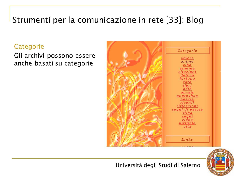 Università degli Studi di Salerno Categorie Gli archivi possono essere anche basati su categorie Strumenti per la comunicazione in rete [33]: Blog