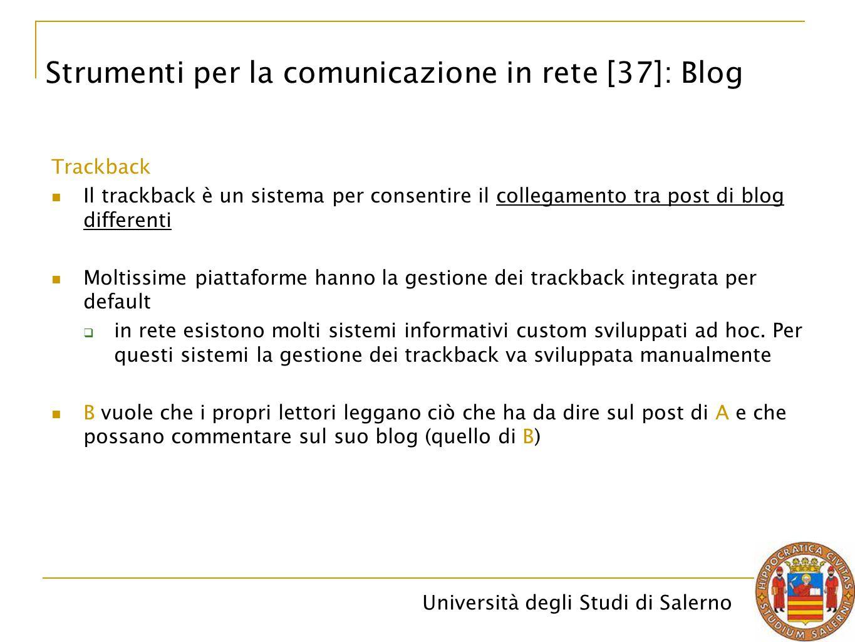 Università degli Studi di Salerno Trackback Il trackback è un sistema per consentire il collegamento tra post di blog differenti Moltissime piattaform