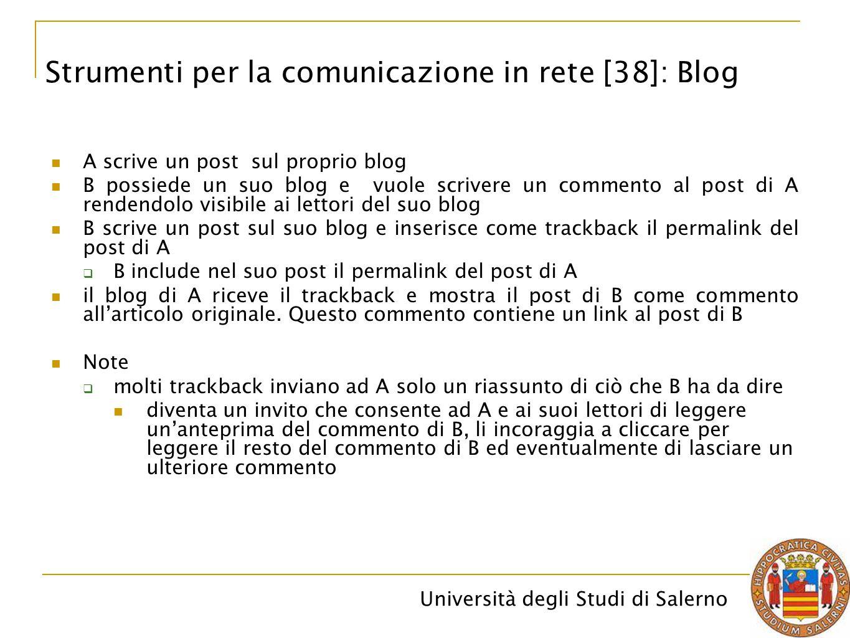 Università degli Studi di Salerno A scrive un post sul proprio blog B possiede un suo blog e vuole scrivere un commento al post di A rendendolo visibi