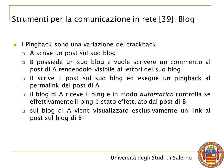 Università degli Studi di Salerno I Pingback sono una variazione dei trackback  A scrive un post sul suo blog  B possiede un suo blog e vuole scrive