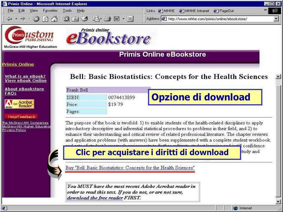 Clic per acquistare i diritti di download Opzione di download