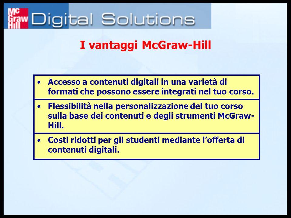 I vantaggi McGraw-Hill Accesso a contenuti digitali in una varietà di formati che possono essere integrati nel tuo corso.