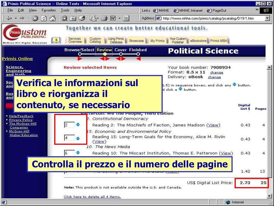Controlla il prezzo e il numero delle pagine Verifica le informazioni sul libro e riorganizza il contenuto, se necessario