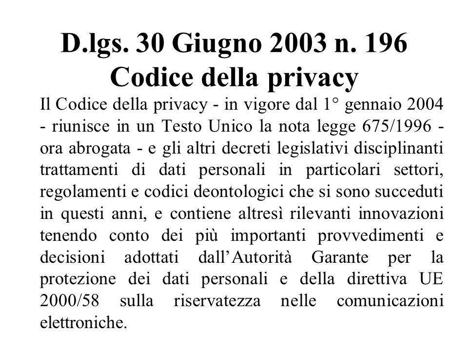 D.lgs.30 Giugno 2003 n.