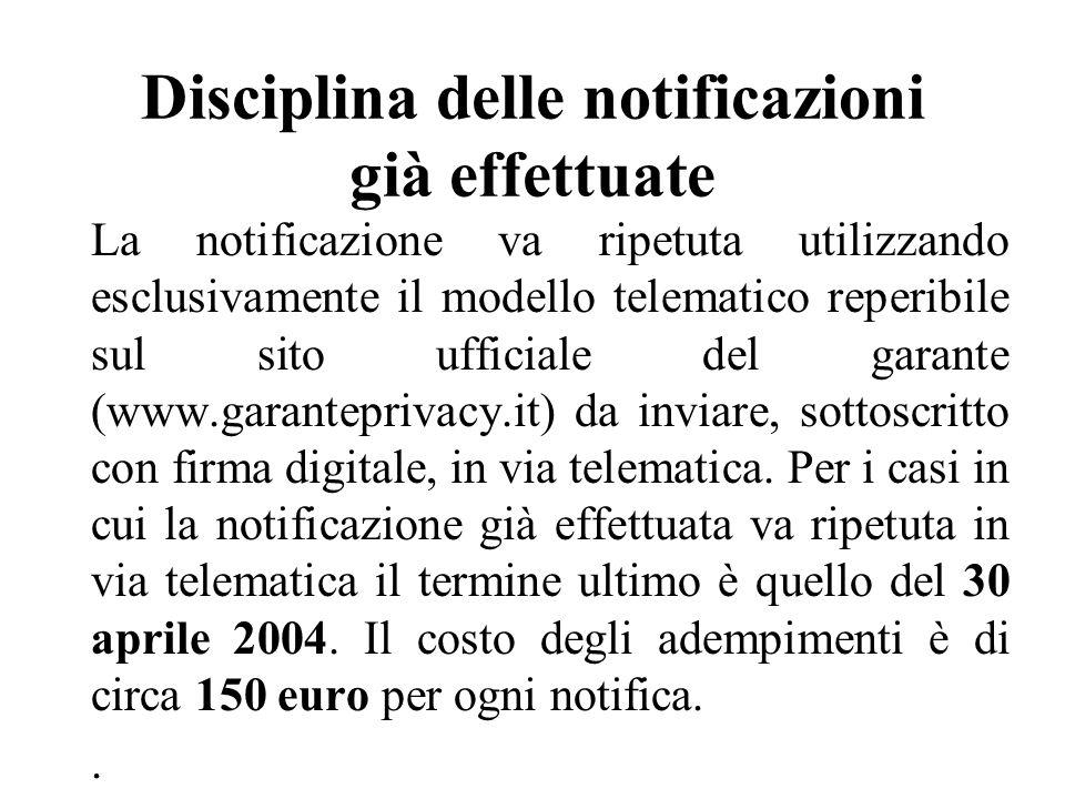 Disciplina delle notificazioni già effettuate La notificazione va ripetuta utilizzando esclusivamente il modello telematico reperibile sul sito ufficiale del garante (www.garanteprivacy.it) da inviare, sottoscritto con firma digitale, in via telematica.