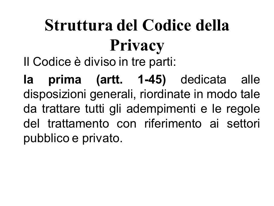 Struttura del Codice della Privacy la seconda (artt.