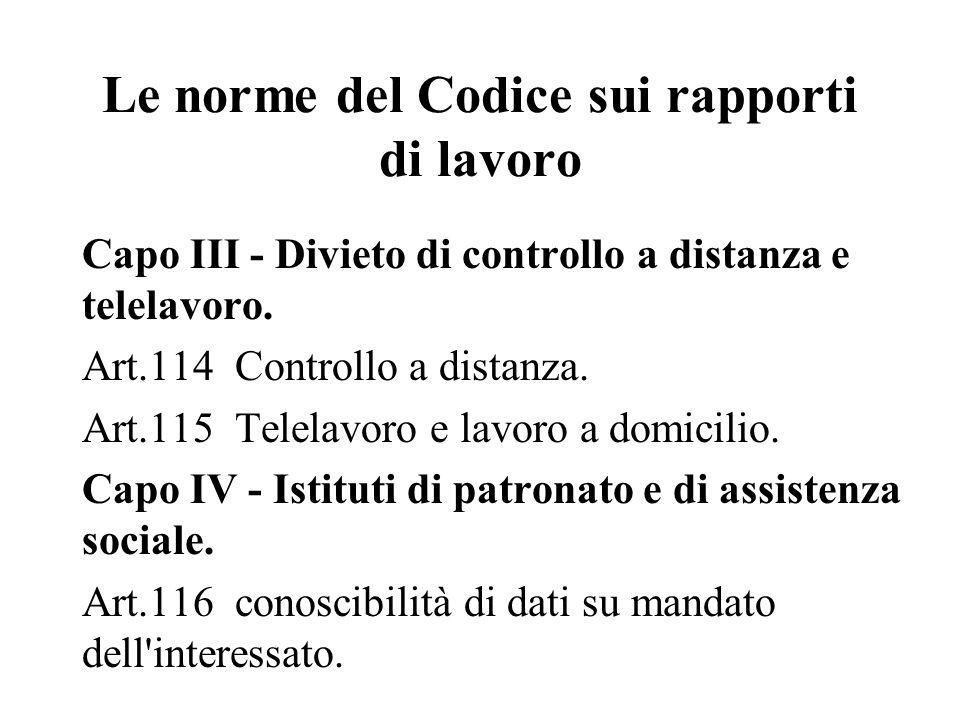 Le norme del Codice sui rapporti di lavoro Capo III - Divieto di controllo a distanza e telelavoro.