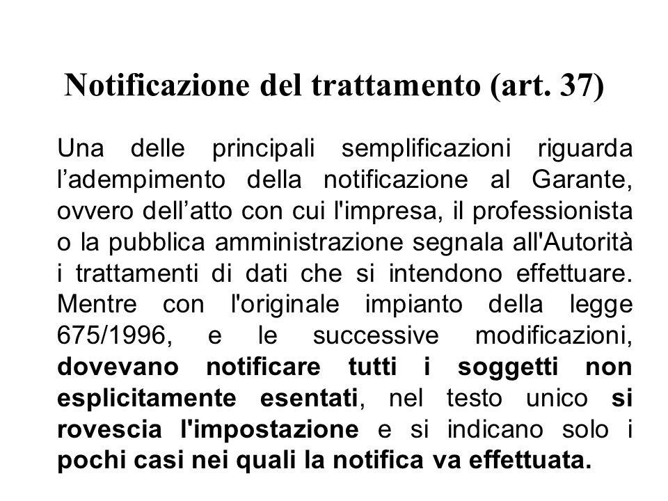Notificazione del trattamento (art.