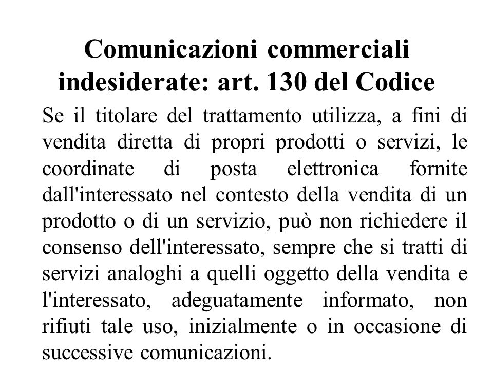 Comunicazioni commerciali indesiderate: art.