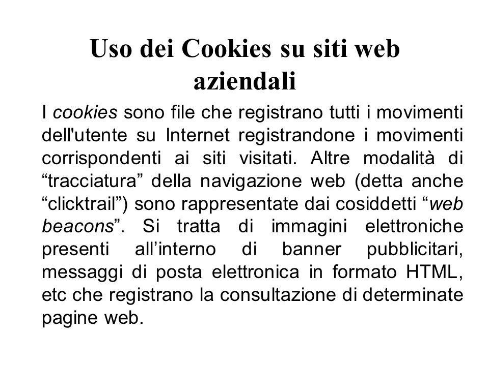 Uso dei Cookies su siti web aziendali I cookies sono file che registrano tutti i movimenti dell utente su Internet registrandone i movimenti corrispondenti ai siti visitati.