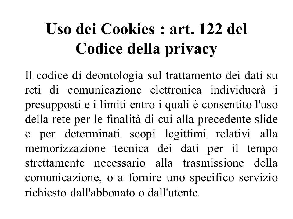 Uso dei Cookies : art.