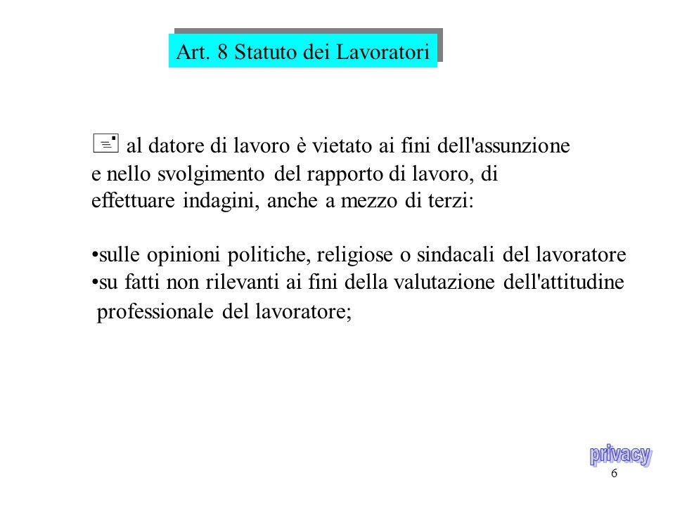 5 Art. 6 Statuto dei Lavoratori Vieta le visite personali di controllo sul lavoratore, ad eccezione di quelle indispensabili ai fini della tutela del