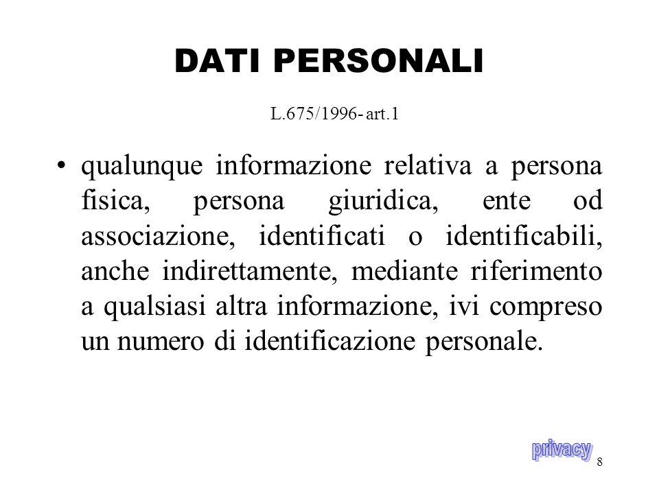 8 DATI PERSONALI L.675/1996- art.1 qualunque informazione relativa a persona fisica, persona giuridica, ente od associazione, identificati o identificabili, anche indirettamente, mediante riferimento a qualsiasi altra informazione, ivi compreso un numero di identificazione personale.