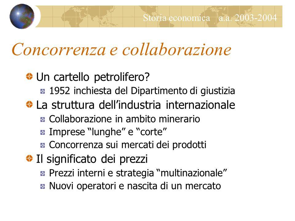 Storia economica a.a.2003-2004 Concorrenza e collaborazione Un cartello petrolifero.