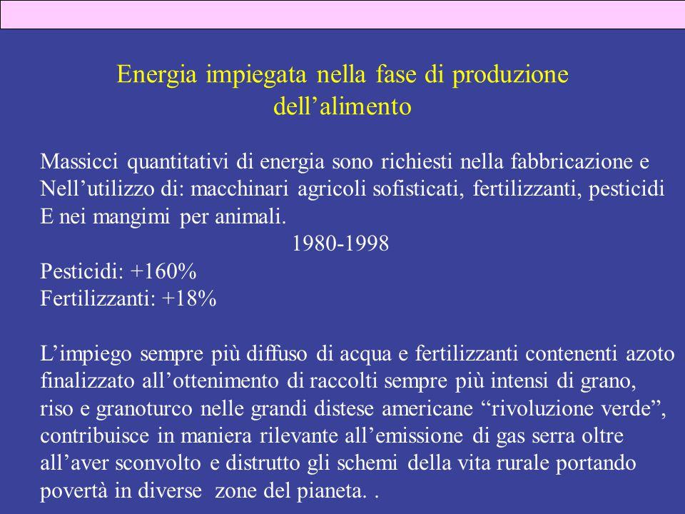 Energia impiegata nella fase di produzione dell'alimento Massicci quantitativi di energia sono richiesti nella fabbricazione e Nell'utilizzo di: macchinari agricoli sofisticati, fertilizzanti, pesticidi E nei mangimi per animali.