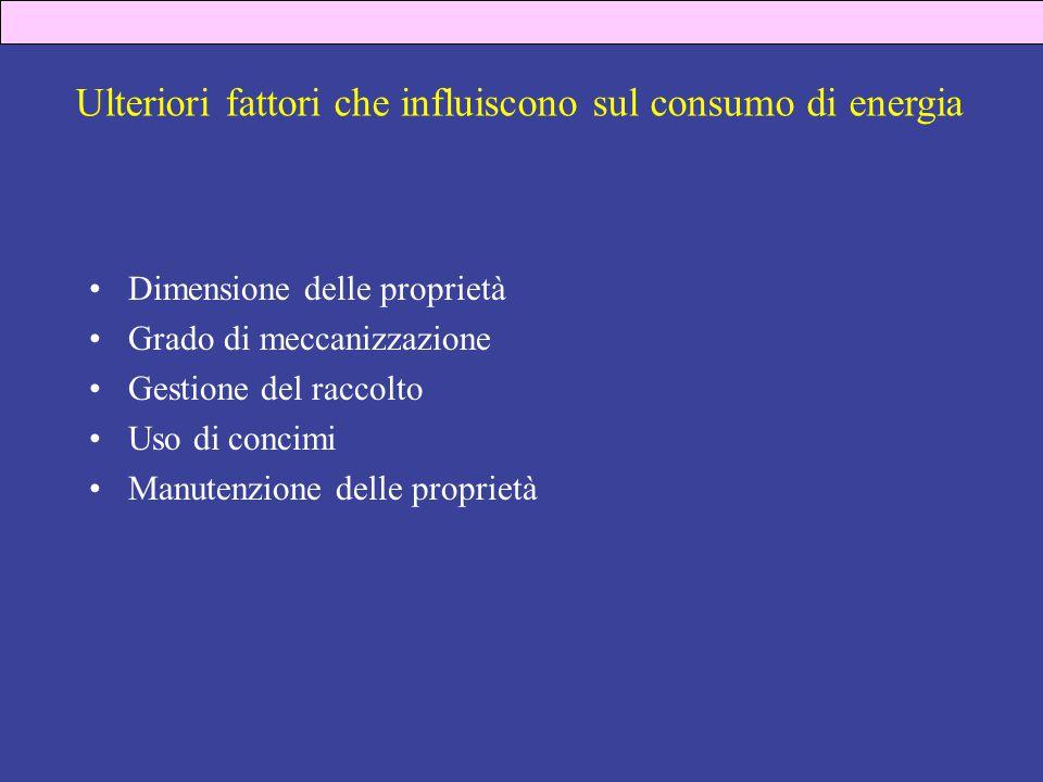 Ulteriori fattori che influiscono sul consumo di energia Dimensione delle proprietà Grado di meccanizzazione Gestione del raccolto Uso di concimi Manutenzione delle proprietà