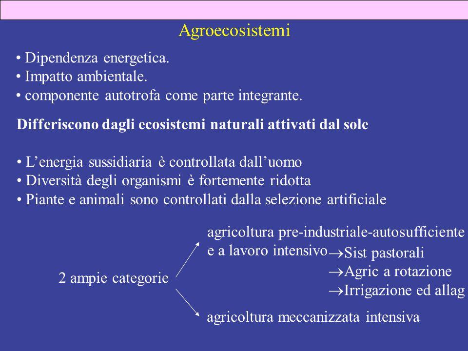Agroecosistemi Dipendenza energetica. Impatto ambientale.