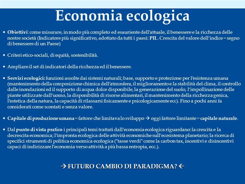 Economia ecologica Obiettivi: come misurare, in modo più completo ed esauriente dell'attuale, il benessere e la ricchezza delle nostre società (Indicatore più significativo, adottato da tutti i paesi: PIL.