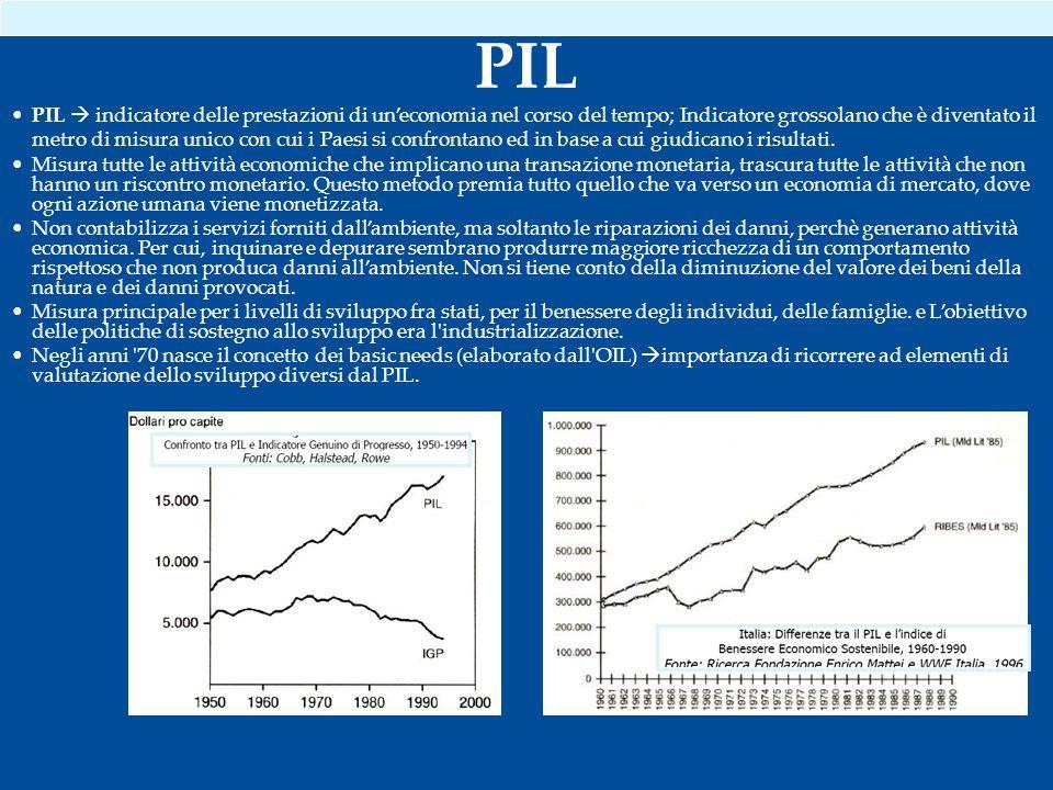PIL  indicatore delle prestazioni di un'economia nel corso del tempo; Indicatore grossolano che è diventato il metro di misura unico con cui i Paesi si confrontano ed in base a cui giudicano i risultati.
