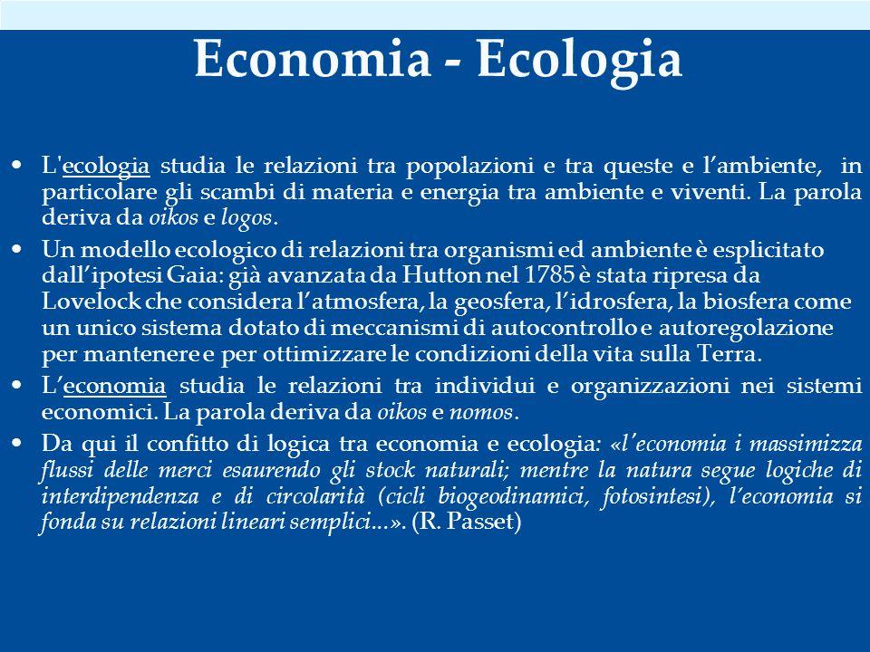 Economia - Ecologia L ecologia studia le relazioni tra popolazioni e tra queste e l'ambiente, in particolare gli scambi di materia e energia tra ambiente e viventi.