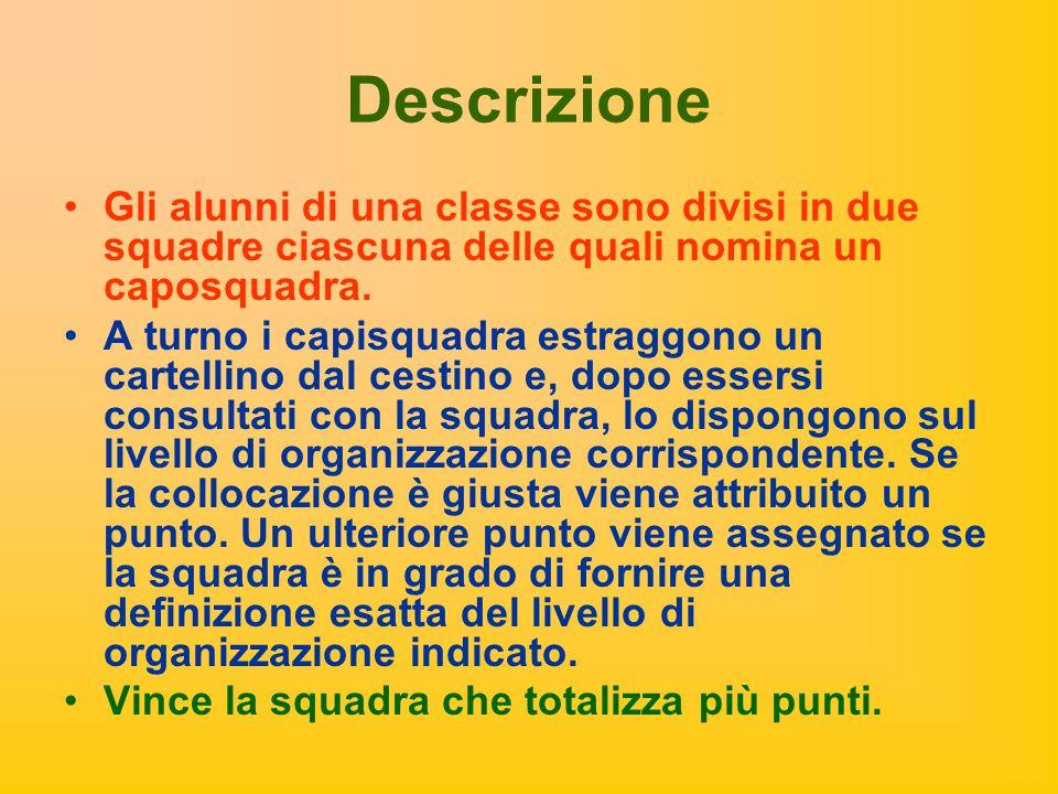 Descrizione Gli alunni di una classe sono divisi in due squadre ciascuna delle quali nomina un caposquadra. A turno i capisquadra estraggono un cartel