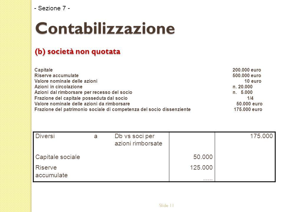 Slide 11 Contabilizzazione (b) società non quotata Capitale 200.000 euro Riserve accumulate500.000 euro Valore nominale delle azioni 10 euro Azioni in circolazionen.