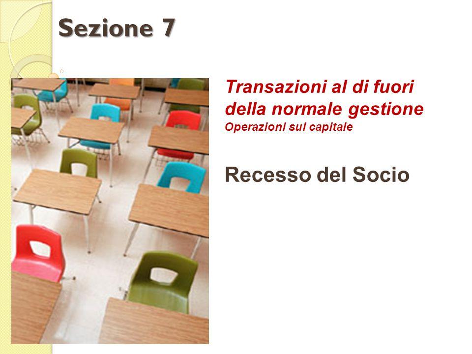 Transazioni al di fuori della normale gestione Operazioni sul capitale Recesso del Socio Sezione 7