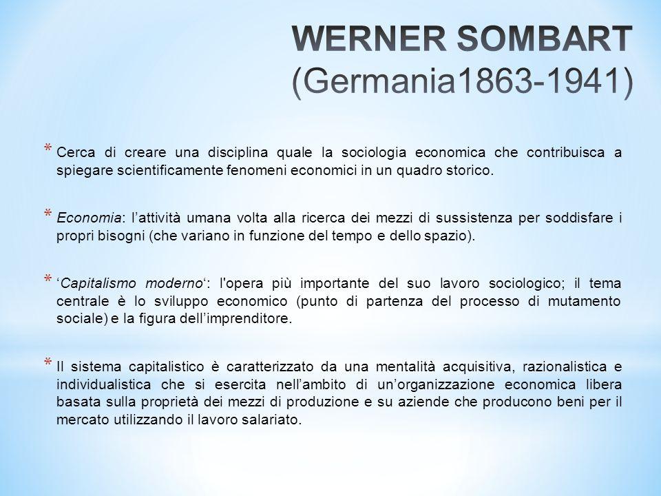 * Cerca di creare una disciplina quale la sociologia economica che contribuisca a spiegare scientificamente fenomeni economici in un quadro storico. *