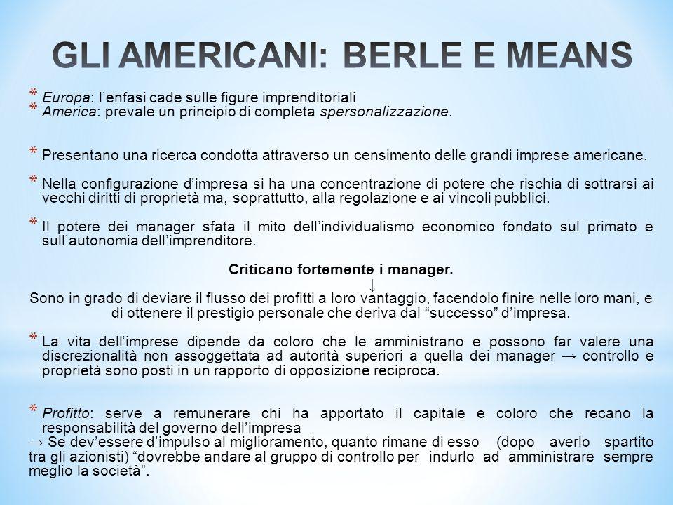 * Europa: l'enfasi cade sulle figure imprenditoriali * America: prevale un principio di completa spersonalizzazione. * Presentano una ricerca condotta