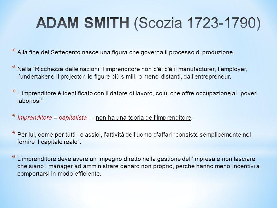 * Con Ricardo (e Marx) i processi economici si caratterizzano per un grado ancora più elevato di automatismo rispetto a Smith.