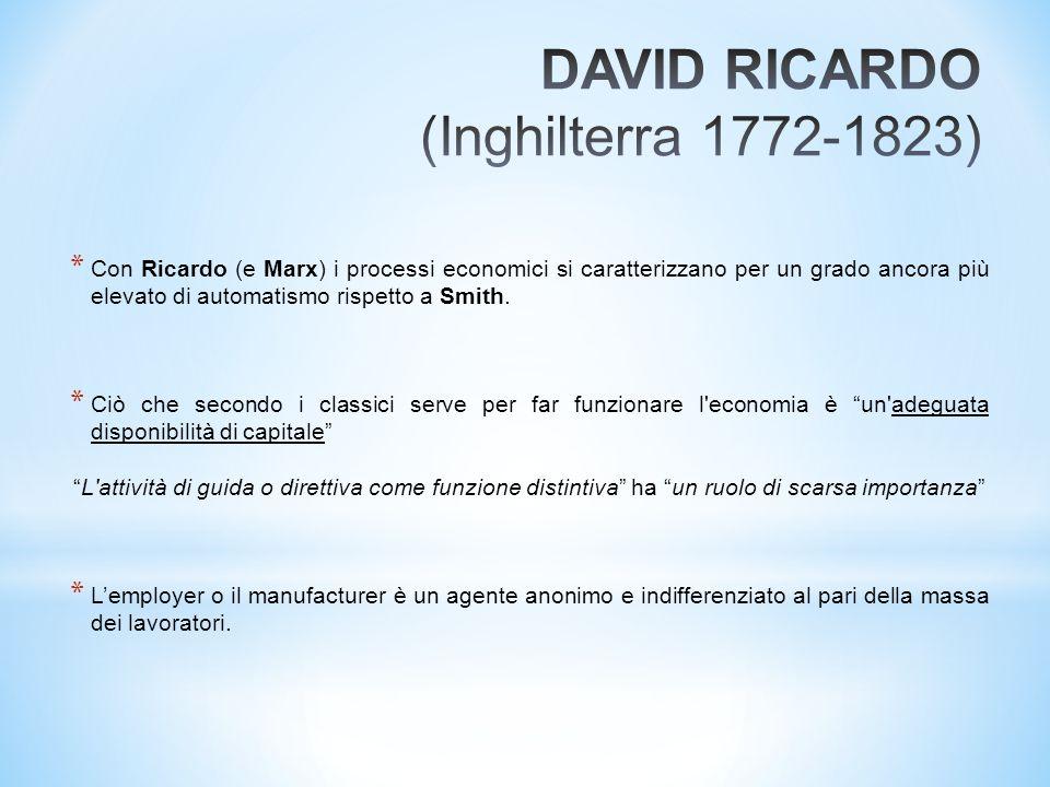 * Con Ricardo (e Marx) i processi economici si caratterizzano per un grado ancora più elevato di automatismo rispetto a Smith. * Ciò che secondo i cla