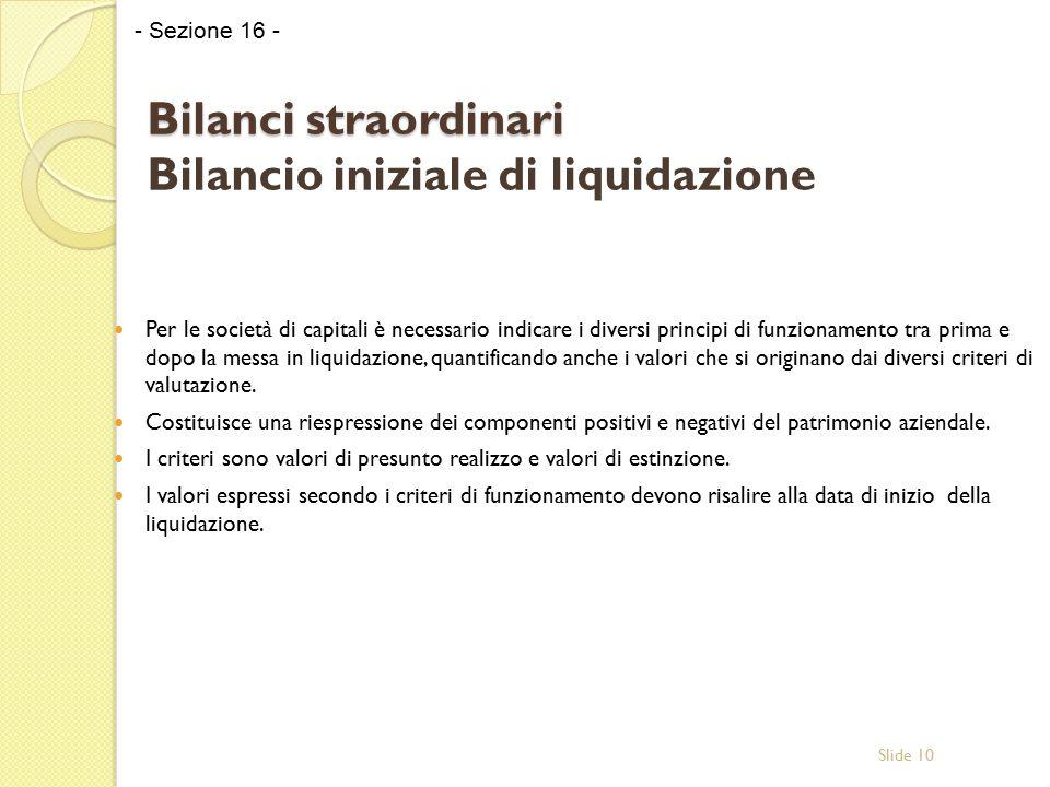 Slide 10 Bilanci straordinari Bilanci straordinari Bilancio iniziale di liquidazione Per le società di capitali è necessario indicare i diversi princi