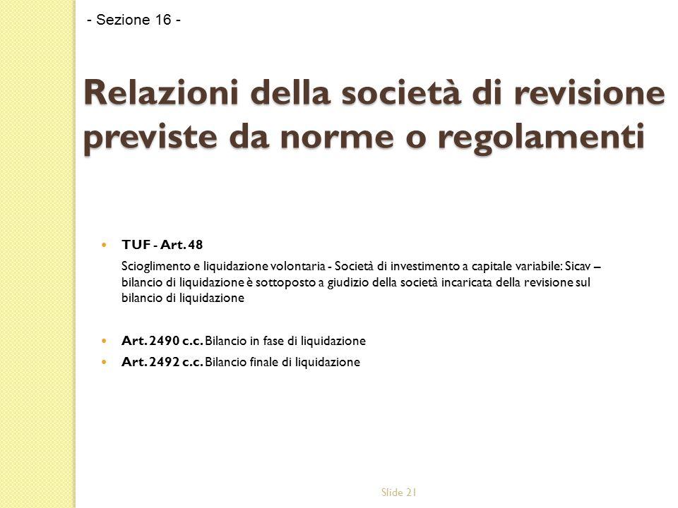 Slide 21 Relazioni della società di revisione previste da norme o regolamenti TUF - Art. 48 Scioglimento e liquidazione volontaria - Società di invest