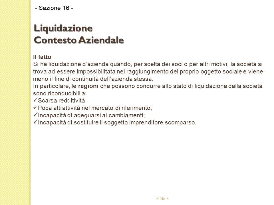 Slide 3 Il fatto Si ha liquidazione d'azienda quando, per scelta dei soci o per altri motivi, la società si trova ad essere impossibilitata nel raggiu