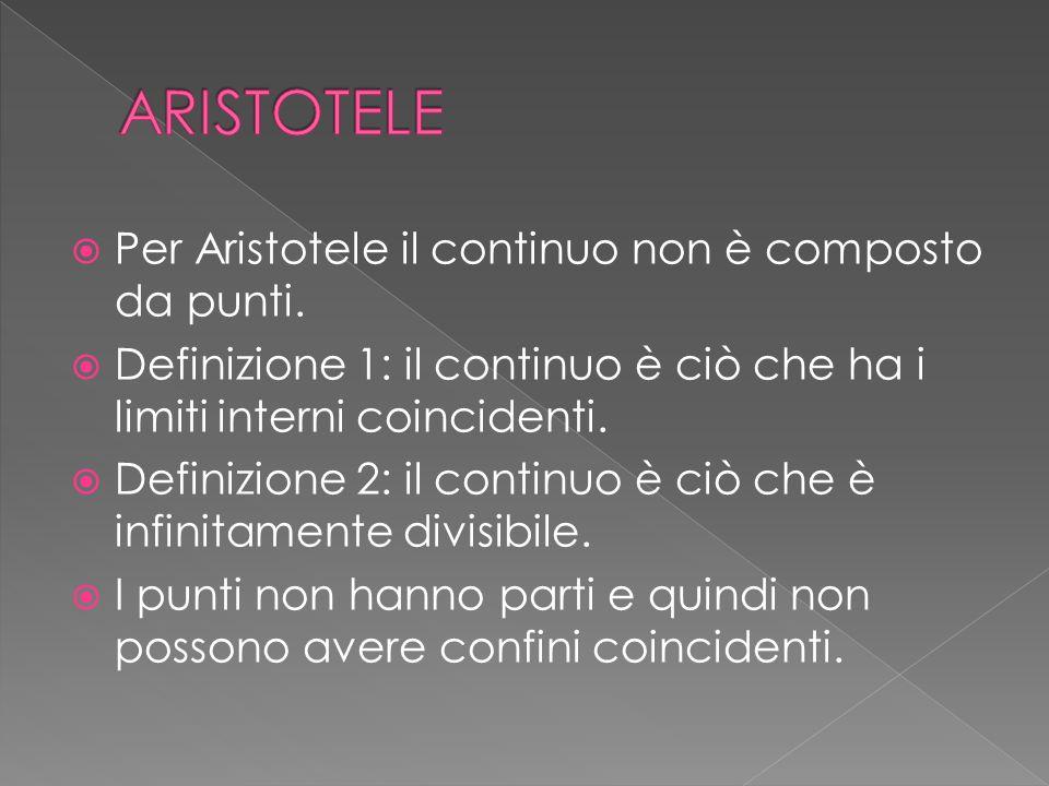  Per Aristotele il continuo non è composto da punti.  Definizione 1: il continuo è ciò che ha i limiti interni coincidenti.  Definizione 2: il cont