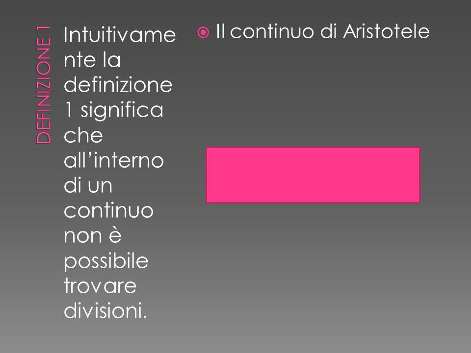 Intuitivame nte la definizione 1 significa che all'interno di un continuo non è possibile trovare divisioni.  Il continuo di Aristotele