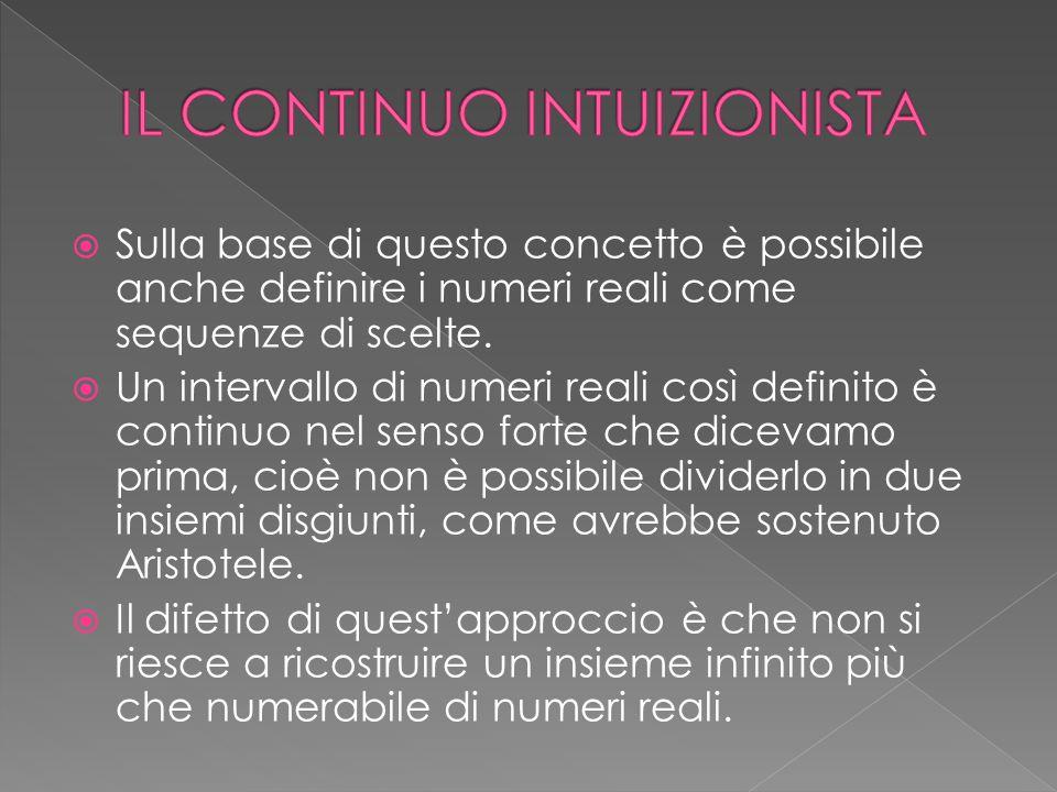  Sulla base di questo concetto è possibile anche definire i numeri reali come sequenze di scelte.  Un intervallo di numeri reali così definito è con