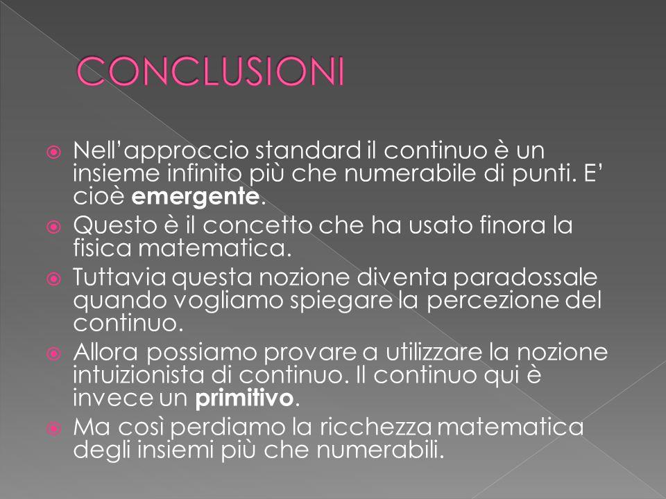  Nell'approccio standard il continuo è un insieme infinito più che numerabile di punti. E' cioè emergente.  Questo è il concetto che ha usato finora