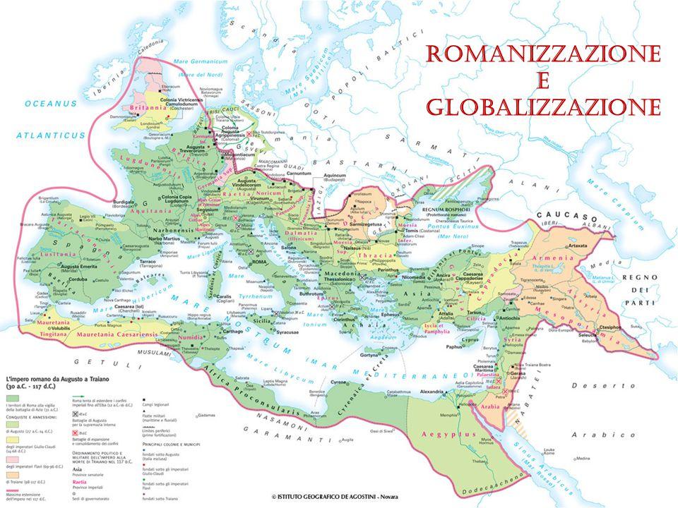 Strade come unione Uniscono le Province e fanno cadere le barriere tra nazioni, città, razze Permettono l'uguaglianza tra Province - ogni stato è facilmente raggiungibile - ad ogni provincia è affidato il compito di badare al mantenimento del sistema stradale - chiunque si trovi all'interno dell'orbe romano è cittadino romano