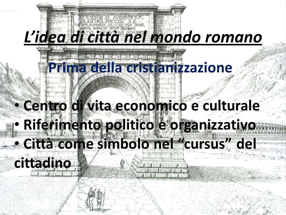 L'idea di città nel mondo romano Prima della cristianizzazione Centro di vita economico e culturale Riferimento politico e organizzativo Città come simbolo nel cursus del cittadino