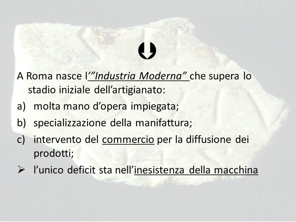  A Roma nasce l' Industria Moderna che supera lo stadio iniziale dell'artigianato: a)molta mano d'opera impiegata; b)specializzazione della manifattura; c)intervento del commercio per la diffusione dei prodotti;  l'unico deficit sta nell'inesistenza della macchina
